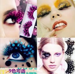 Colorful False Eyelashes Wholesale Australia - New 10 Kinds Colorful Beauty Feather False Eyelashes Eyes Makeup Feather eyelashes for party red dots stage exaggeration