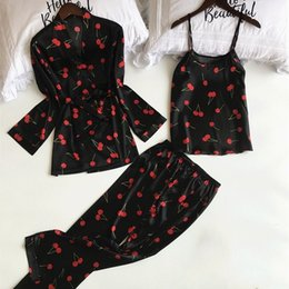 Women pajamas three piece online shopping - New Fashion Women Pajamas Sets Sexy Satin Flower Print Pyjama Suits Spaghetti Strap Spring V Neck Thin Three Piece Nightwear