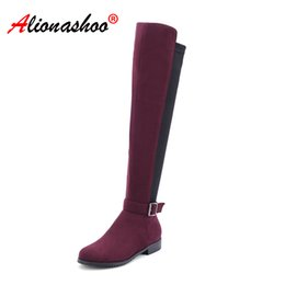 booties winter women UK - 2019 New Women Shoes Woman Boots autumn knee High Boots Height increased Shoes Sexy Party Booties Large Size 34-43