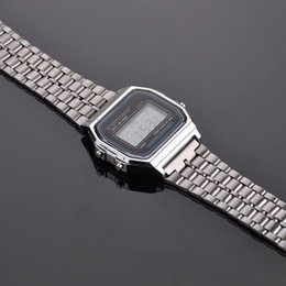 $enCountryForm.capitalKeyWord Australia - Vintage Womens Men Stainless Steel Square LED Digital Stopwatch Wrist Watch Free Shipping relogio masculino