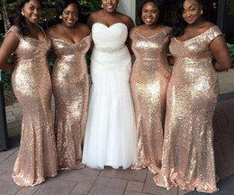 mermaid ruffle bling wedding dress NZ - Bling Plus size Rose Gold Bridesmaids Dresses Long 2020 With Cap Short Sleeves Mermaid Cheap Wedding Bridesmaid Prom Evening Party Dress