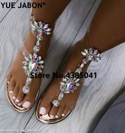 $enCountryForm.capitalKeyWord Australia - 2018 shoes woman sandals women Rhinestones Chains Flat Sandals Thong Crystal Flip Flops sandals gladiator 43 free ship #10315