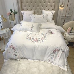 lilac satin queen bedding set NZ - Chic Home Floral Embroidery White Pink Bedding set Satin like Silk Cotton Duvet Cover set Bed sheet Fitted sheet Pillow shams T200415
