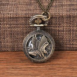 $enCountryForm.capitalKeyWord Australia - Bronze Vintage Eagle fob watches Pendant Chain Quartz Pocket watch Mens Womens Gifts Relogio De Bolso