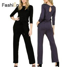 Women Jumpsuit Black High Neck NZ - Women Black Daily Jumpsuit Fashion Wide Leg Skinny Jumpsuits Casual High Waisted O Neck Playsuits Rompers with Pockets Bodysuit