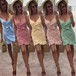 428afff4c 2019 Summer designer dresses Checked dress Lotus leaf skirt Sexy backless  Fashion Hot selling Women clothes China factory Free DHL