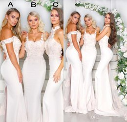 $enCountryForm.capitalKeyWord Australia - White Satin Bridesmaid Dresses Halter Neck Floral Appliqued Sweep Train Mermaid Wedding Guest Prom Gowns Custom Made