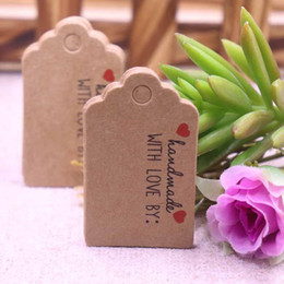 $enCountryForm.capitalKeyWord Australia - 100 pcs 3x5cm hand made with love Kraft  white paper tags Thank you labels bag label handmade paper gift tag handwork price tags