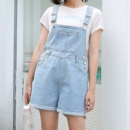 5d825a37698c Women Blue High Waist Playsuit Denim Overalls Korean Style Female Rompers  Loose Jean Jumpsuit Summer Fashion Wide Leg Playsuits