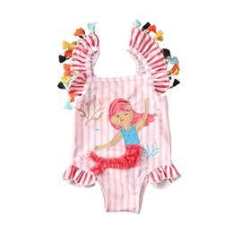 girls bathing suit kids swim Australia - Kids Girls One-piece Mermaid Swimsuit Infant Girl Tassel Striped Bathing Suit Swimwear Bikini Swimsuit Swimming Costume Clothes