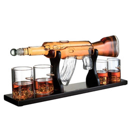 1000ml Luxury Large Creative Rifle Gun Whiskey Decanter Set with Wooden Base on Sale