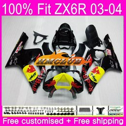 $enCountryForm.capitalKeyWord Australia - Injection For KAWASAKI NINJA ZX600 ZX636 ZX-6R ZX-636 03 04 57HM.2 ZX 636 ZX 6 R 600CC ZX6R 03 04 ZX 6R 2003 2004 OEM Fairings Yellow red
