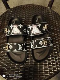 2019 Donne di marca Cat Stampa Marrone Tela Bom Dia piatta mulo Slipper Designer Lady fibbia cinghie in gomma suola scorrevole sandalo