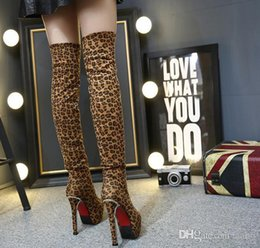 Thighs High Boots Australia - Night club leopard print sex shoes 14cm ultra high heels waterproof platform thick and thin legs thigh-high boots thermal shoes.
