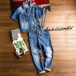 overall jumpsuits Australia - Men's jumpsuit Summer Overalls Men's Short-sleeved Denim jacket Suit can be Detached and worn Separately Denim
