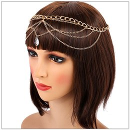 Bridal Hair Accessories Gold Australia - Women Gold Wave Tassels Head Chain Hair Accessories Wedding Bridal Hair Jewelry 2019 New Crystal Water Drop Pendant Hairband