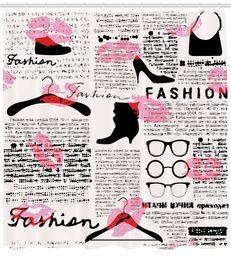 $enCountryForm.capitalKeyWord Canada - DIY Old Newspaper Decor Shower Curtain by Fashion Elements Kisses Lipstick Glasses Shoes Hangers Fabric Bathroom Decor Set Scarlet Baby Pink