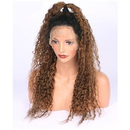 $enCountryForm.capitalKeyWord Australia - On sale kinky curly Brazilian human hair Ombre Color brown full lace hair wig for black women with baby hair lace front wig