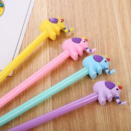 Korean School Stationery Australia - 4Pcs Cute Elephant Gel Pen 0.5mm Kawaii Pens Cartoon Neutral Pens For Writing Kids Girls Gift School Supplies Korean Stationery
