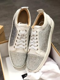 $enCountryForm.capitalKeyWord Australia - Men's Sneaker Shoes Party Dress Wedding Low Top Junior Spikes Red Bottom Glitter Leather Shoes,Luxury Red Sole Leisure Outdoor Flats