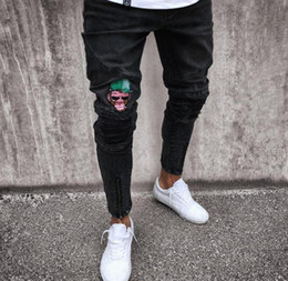 Children s fashion jeans online shopping - Brand new designer jeans fashion men s straight straight slim riding jeans child monkey tight hole destruction jeans washed Hiphop pants bla