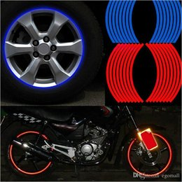 """$enCountryForm.capitalKeyWord Australia - 16 Pcs Strips Wheel Stickers And Decals 14"""" 17"""" 18"""" Reflective Rim Tape Bike Motorcycle Car Tape 5 Colors Car Styling"""