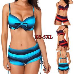 Plus Size Swimdress Swimsuit Woman Australia - Large Size Women Push Up Bikini Set Print Two Pieces Swimwear Tankini Striped Plus Size Swimsuit Bow Tied Bathing Suit 5xl Y19052002