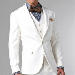 Three Piece Suit Bow Australia - Grooms Tuxedos White Peaked Lapel Wedding Suits For Men Three Piece Mens Suits Two Button Groomsmen Suit(pants+jacket+vest+bow)