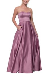 $enCountryForm.capitalKeyWord Australia - Sexy Strapless Long Prom Gown Satin Floor Length Women Formal Evening Dresses with Pockets Custom Made
