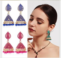 Painting Faces Australia - Painting oil square wish bell Pendant Earrings national wind Earrings