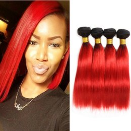 black red ombre hair weave 2019 - Dressmaker Indian Straight Human Hair Ombre Black to Hot Red Bundles 4 Ombre Hair Bundles Double Weft Mixed Length cheap