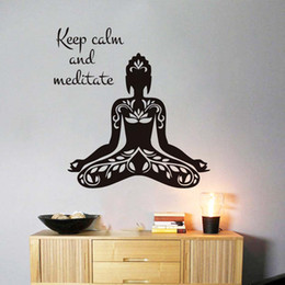 Bathroom Wall Sticker Quotes Australia - 1 Pcs Keep Calm And Meditate Famous Aphorism Quote Yoga Lotus Pose Wall Sticker Home Decor Living Room Vinyl Art Removable