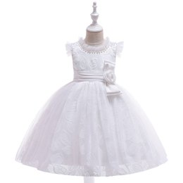 Images Formal Dresses For Girls UK - New ArrivalRuffled O Neck Lace Girls Pageant Dresses with Pearls Kid's Formal Wear First Communion Dress For Wedding Party Evening