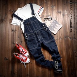 Foot Jumpsuits Australia - Youthful Handsome Jeans Japanese Casual Feet Pants Spring and autumn Fashion Hiphop Overalls Self-cultivation Jumpsuits
