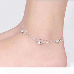 hot girls feet chain UK - Anklets Silver Lucky Star Anklet Bracelet Hot Sale Link Chain Anklets For Women Girl Foot Bracelets Jewelry Wholesale Free Shipping 0341WH