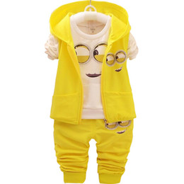 China Baby Girls Boys Minions Clothing Sets Children New Spring And Autumn Cartoon Cotton Suit Hooded Vest +t Shirt +pants Clothes Set J190716 cheap minions clothes suppliers