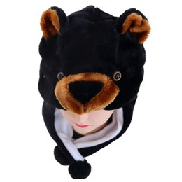 kids bear hat UK - DOUBCHOW Unisex Adults Teenages Kids Cartoon Animal Hat Cute Black Bear Plush Winter Warm Cap Boys Girls Women Cosplay Beanie