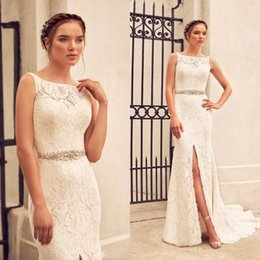 Front Slit Wedding Gowns Australia - Paloma Blanca 2019 Full Lace Mermaid Wedding Dresses Sexy Open Back Slit Front Summer Sleeveless Beach Country Bridal Gowns Wedding Dress