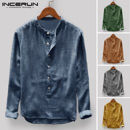 Vintage Collared Shirts Australia - INCERUN Vintage Retro Long Sleeve Shirt Men Button Stand Collar Casual Tops Pullover Men Basic Shirts Camisa Harajuku 2019 S-5XL