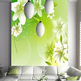 Korean tv movies online shopping - Lily large mural flower wallpaper living room TV background wallpaper Movie wall bedroom porch custom specials
