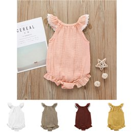 $enCountryForm.capitalKeyWord Australia - Baby romper 5 colors Baby girls flutter lace sleeve romper infant ruffle sleeves jumpsuit fashion boutique kids climbing clothes FJ103