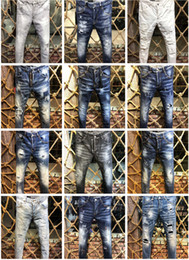 Pink brand jeans online shopping - 2019 New Arrival Top Quality Brand Designer Men Denim Jeans Embroidery Pants Fashion Holes Trousers Italy Size