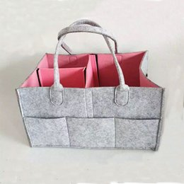 Wholesale Two colors Baby Diaper Caddy Gray Nursery Diaper Tote Bag Large Portable Car Travel Organizer Gray Felt Basket Infant Girl Boy