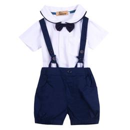 $enCountryForm.capitalKeyWord Australia - New Baby Boy Toddler Clothing Sets Gentalman T-shirt Tops + Bib Pants Overalls + Bow Tie 3PCS Outfit Outwear Blue 12 18 24 Month