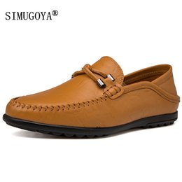 feet first shoes NZ - SIMUGOYA New men's casual peas shoes fashion set foot men's shoes first layer leather driving Big size 37-47