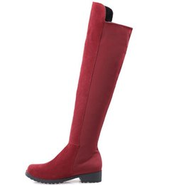 $enCountryForm.capitalKeyWord Australia - Women Over Knee Flat Boots Lady Autumn Warm Shoes Cowskin Genuine Leather Fashion Solid Red Boots Plus Size