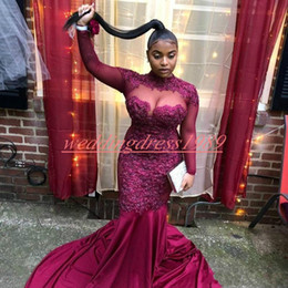 picture girl sexy model NZ - Sexy Grape 2k19 African Prom Dresses Sheer Applique Black Girl Plus Size Mermaid Long Party Special Occasion Robe De Soiree Evening Gowns