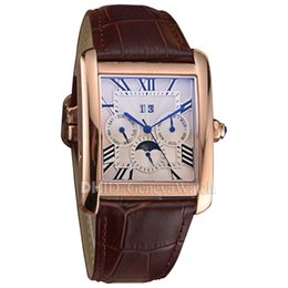 Wholesale Square Case Fashion Luxury Mens Watches Ballon Big Calendar Mechanical Automatic Watch Day Date montre de luxe Leather Strap Wristwatches