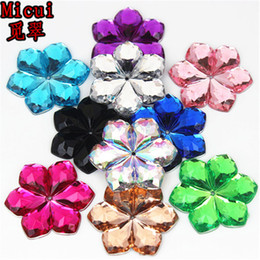 $enCountryForm.capitalKeyWord UK - Micui 50PCS 28mm Flower shaped Acrylic Rhinestones crystal Stones Flatback For Clothes Dress Decorations Jewelry Accessories ZZ266