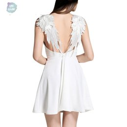 angel wing dresses Australia - Summer Vestidos Lace Dress De Playa Angel Wings Casual Bohemian Dresses Slim Backless Beach Dresses Women Spaghetti Strap Vestidos